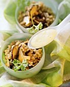 Shiitake mushroom pilaff with turmeric kefir sauce on spoon