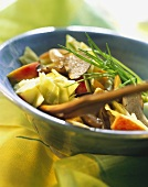 Grilled oyster mushrooms with vegetables, fruit & chives
