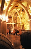 Wine barrels in cellar (Chateau Romanin St. Remy)