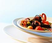 Spaghetti neri al polipo (Squid-ink spaghetti with octopus)