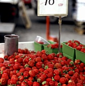 Strawberries at a Market Stand