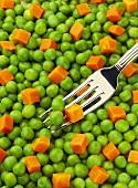Peas and Carrots; Fork (Full Frame)