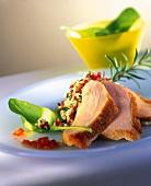 Sliced Roast Chicken with Barley Salad
