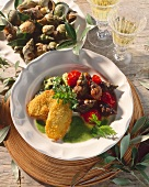 Breaded fish fillets with snails
