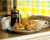 Breakfast of Croissant, Coffee and Orange Juice