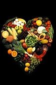 Assorted Fruits and Vegetables in the Shape of a Heart