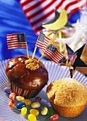 Brownie muffin with American flag and donut muffin
