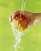 Hand holding apple under running water