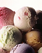 Several Assorted Scoops of Ice Cream