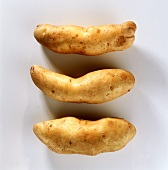 Three potatoes, variety: Bamberger Hörnchen