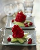 Raspberry ice cream on melon strips