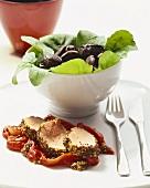 Pork fillet with mustard grains on peppers & mushroom salad