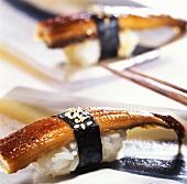 Nigiri sushi with freshwater eel