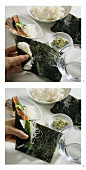 Making temaki-sushi