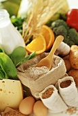 Cheese, wholemeal flour, milk bottle, fruit & vegetables