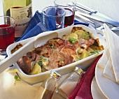 Lyoner sausage bake with Comté