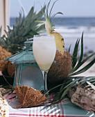 Pina colada in a Caribbean setting