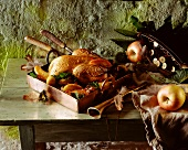 Roast pheasant with apple wedges