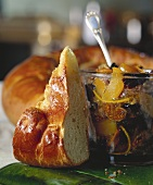 A piece of brioche and French Christmas preserves