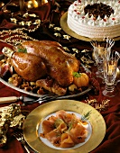 Christmas menu with salmon, roast capon and cherry gateau