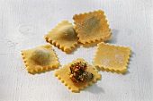 Home-made ravioli with meat filling
