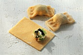 Pasta parcels with leek and goat's cheese filling