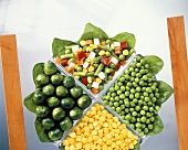Sweetcorn, peas, mixed vegetables and Brussels sprouts