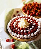 Raspberry tart with soft cheese