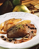 Roast venison with pears