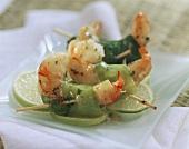 Shrimps wrapped in leeks