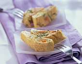 Omelette roll with vegetable filling