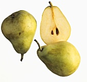Two whole pears and half a pear (Blanquilla)