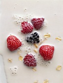 Berries with muesli in milk