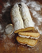 Almond stollen with icing sugar