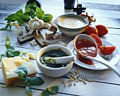 Italian sauces: pesto, tomato and tuna