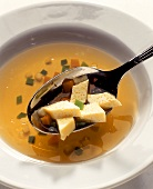 Chicken broth with egg custard