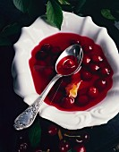 A plate of cherry soup