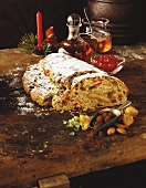 Christmas stollen with candied peel, a slice cut