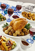 Turkey with various accompaniments