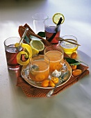 Non-alcoholic orange punch with kumquats, elderberry punch