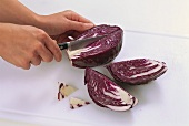 Quartering a red cabbage