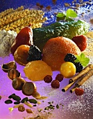 Still life with candied fruit, chestnuts etc.