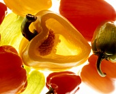 Green, yellow and red peppers (close-up)