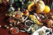 Still life with seafood, caviare, pumpkin & fruit