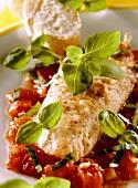 Rotbarbenfilet mit Basilikum-Tomaten