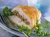 Turbot cordon bleu with smoked salmon stuffing