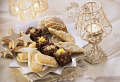 Assorted Christmas biscuits on star-shaped plate