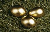 Golden eggs lying in a nest
