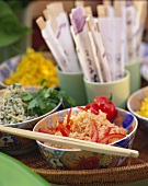 Colourful rice salads in bowls
