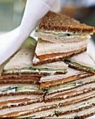 Triangular cucumber & smoked salmon sandwiches